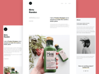 Minimalist onepage template for product designers