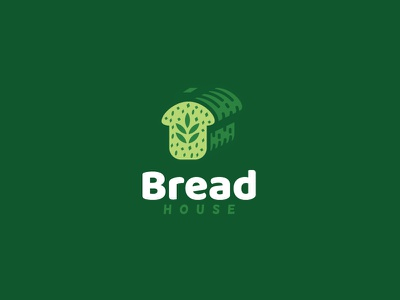 Bread House Logo house homemade home bread toast wholesome leaves grass natural health healthy cafe cookies bakery pastries desserts yeast flour grain wheat