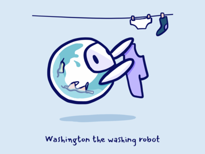 Washington the washing robot | Dribbble Weekly Warm-up #6
