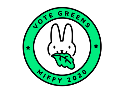 Vote for Miffy | Dribbble Weekly Warm-up #7 kale greens vegetables sustainability bunny rabbit miffy vote political campaign vector branding animals logo illustration dribbbleweeklywarmup