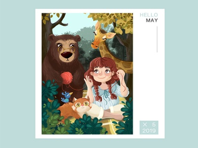 Forest and Happiness illustration