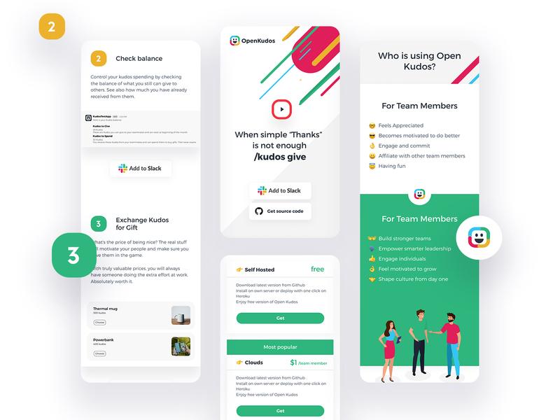 Open Kudos Mobile mobile design dashboard app landing clean flat simple ux ui
