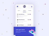 Strngr💪 blue mobile app clean flat simple ux ui
