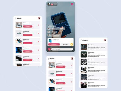 Streaming app shopping livestream live shop mobile app clean flat simple ux ui