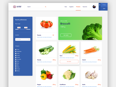 List of products search list clean shop ux ui