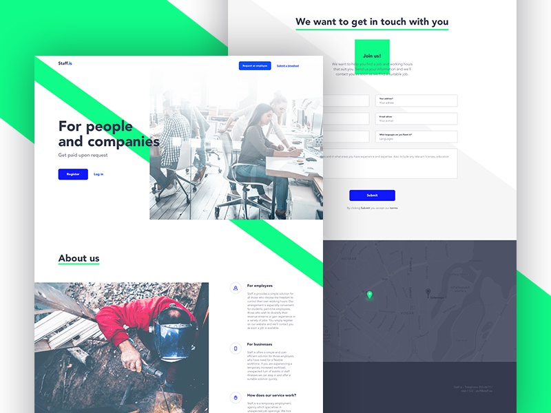 Staff green white clean simple page landing ui ux