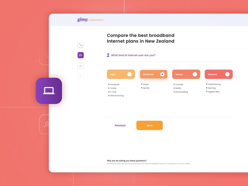 Internet plans compare chooser plans internet compare design app flat simple ux ui
