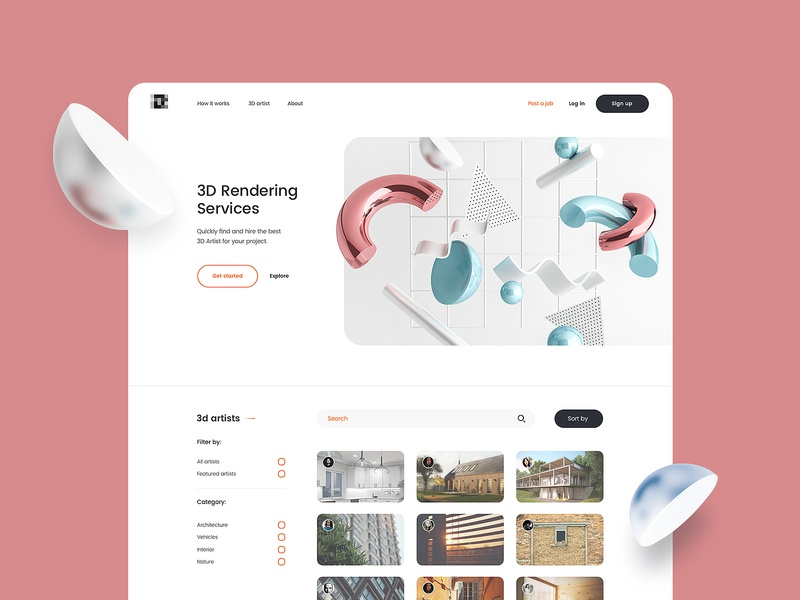 3d search design page whitespace white services rendering 3d clean flat simple ux ui