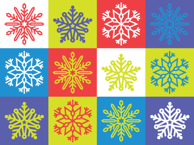 Brightly Colored Snowflakes snowflakes illustration bright holiday