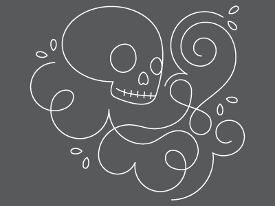 Swirls illustration skull lines linework swirls loops