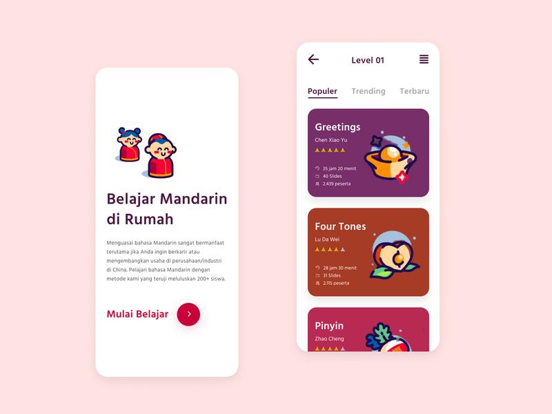 Learning Mandarin Online App course app ui ios app design chinese mandarin learning app