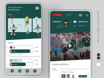 Sport Match App Concept sport match soccer football score live streaming world cup sport concept app