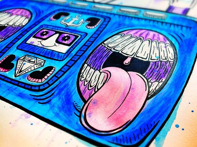 Pump Up the Jams watercolor color music boom box ink sketch illustration retro teeth 80s design drawing