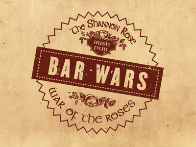 Bar Wars logo badge bar pub irish rose stamp mark icon restaurant