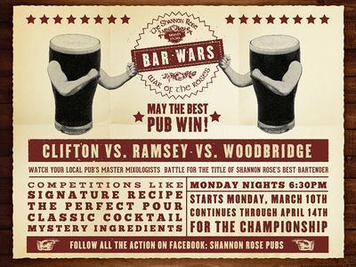 BAR WARS bar pub vintage texture guiness poster icon typography boxing fight