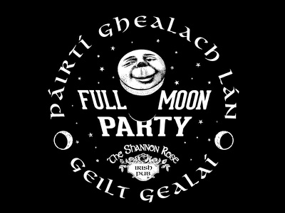 Shannon Rose Full Moon Party t-shirt apparel shirt irish pub moon bar party space illustration design lunar