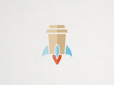 Rocket Coffee flat design illustration icon logo coffee cup rocket ship brew