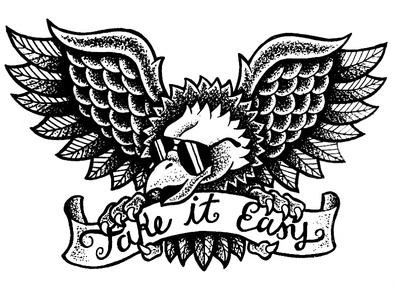 Take It Easy illustration drawing ink pen stippling eagle tattoo flash traditional summer bird banner