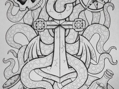 Undertow illustration design sketch drawing tattoo art flash ocean kraken flower skull anchor