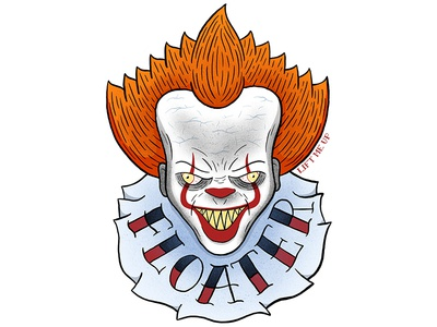 Floater tattoo art clown drawing stephen king horror art illustration procreate pennywise
