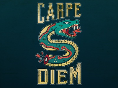 Carpe Diem seize the day traditional tattoo tattoo carpe diem snake