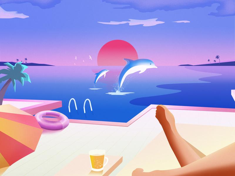 MANADO summer beer dolphin sun sea blue illustration design art