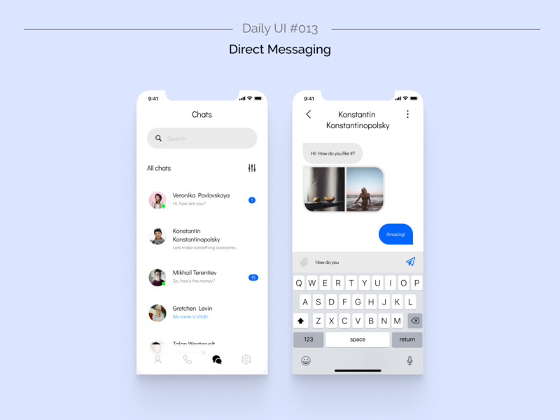 Daily UI #013 — Direct Messaging chatting chat message app messaging messenger message app design design ui app daliy ui dailyui