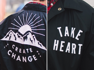 TH Jackets coach jacket take heart design typography mountain lockup springfield missouri