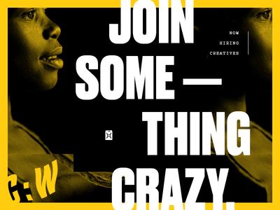 Join Something layout collage typography job intern copywriter ui designer hiring water charity