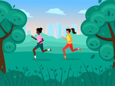 run teenager sunset sunrise park runnig girl flat vector design illustration
