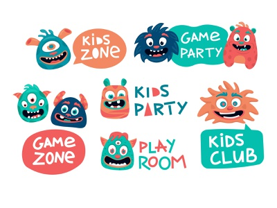 Funny monster stickers for kids zone mascot character banner play game room party children lettering decoration sticker funny cute monster zone kids flat vector design illustration