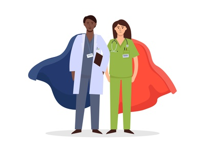 doctor nurse superhero covid-19 coronavirus front protection safety specialist professional superhero staff medical nurse doctor flat vector illustration