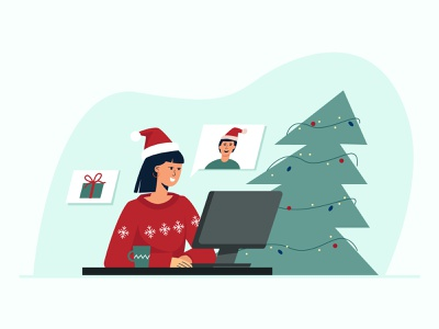 Christmas online computer gift message new year new normal safety quarantine coronavirus covid19 celebration xmas zoom video conference chat online flat vector illustration