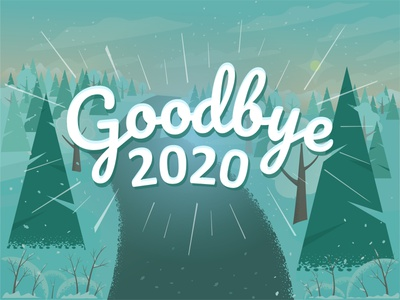 Goodbye 2020! new year banner design snowflake frozen tree typographic celebration hope leave landscape winter vector illustration 2020 goodbye