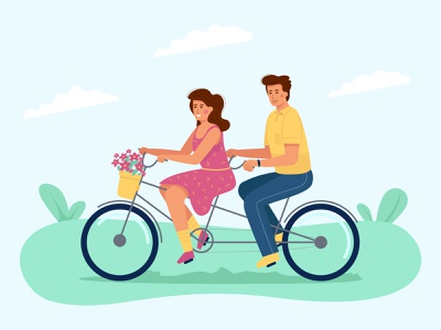 Couple in love on a bicycle illustraion date match relationship love tandem bicycle character couple