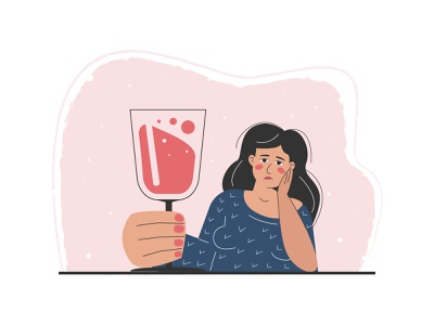 A drunk woman holding a giant glass of wine. addiction problem abuse alcogol glass wine woman drunk