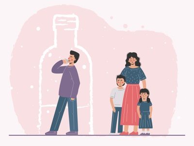 An alcoholic and his family. abandoned booze drink disorder unhappy trouble separation problem conflict crisis parent family abuse codependency escape addiction alcoholic