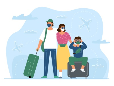 Travel airport family people vector illustration epidemic vacation vaccination rule coronavirus travel