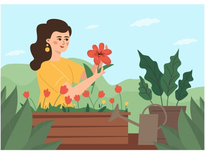 Portrait of adorable young woman enjoying her hobby. flat vector illustration pastime leisure hobby florist gardening flower woman girl