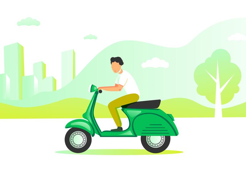 Man On A Moped 01 01 blue green motobike man moped minimal flat vector illustration design