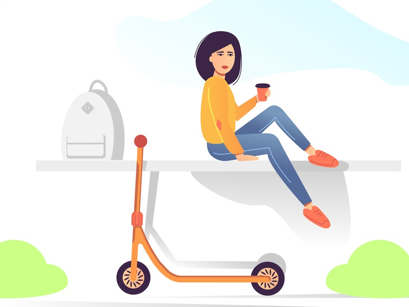 Girl  Coffee  Scooter for fun summer scooter coffee girl minimal vector illustration flat