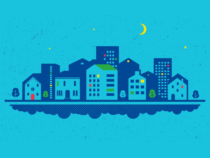 City print blue landskape town city minimal design vector illustration flat