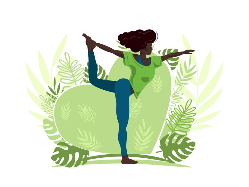 Yoga green heart tropical leaves pose asana yoga girl design illustration