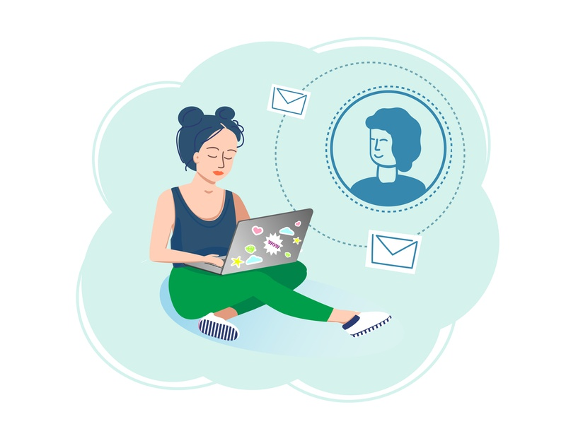 Girl and social media adults social media blue girl flat vector design illustration