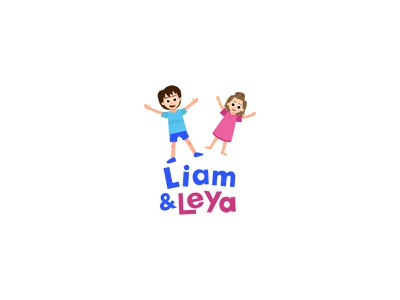 Liam and Leya logotype boy girl vector flat illustration design children kids logo
