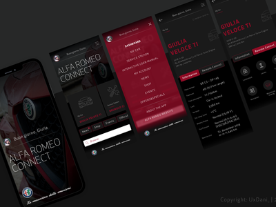 connected Car App-Study minimal app photograhy mobile app design app ios typography ui  ux interface design inspirational design smart car connected car alfa romeo