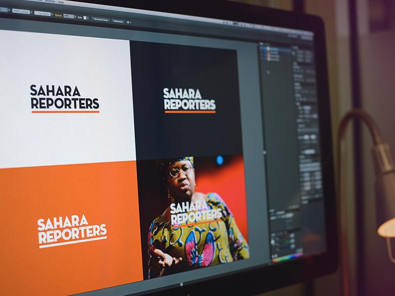 Sahara Reporters Logo Concept logo branding identity orange africa news simple contrast flat editorial
