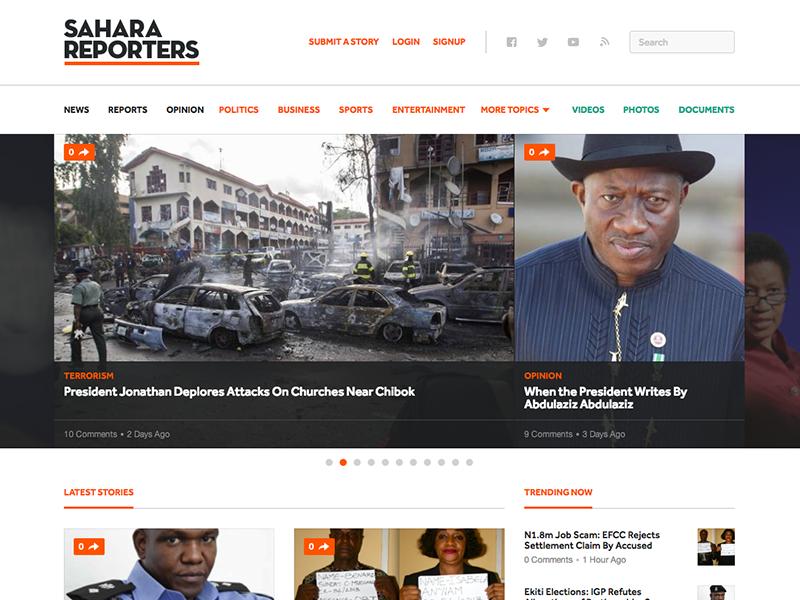 Sahara Reporters Site Redesign sahara reporters design news africa publication editorial grid layout carousel header
