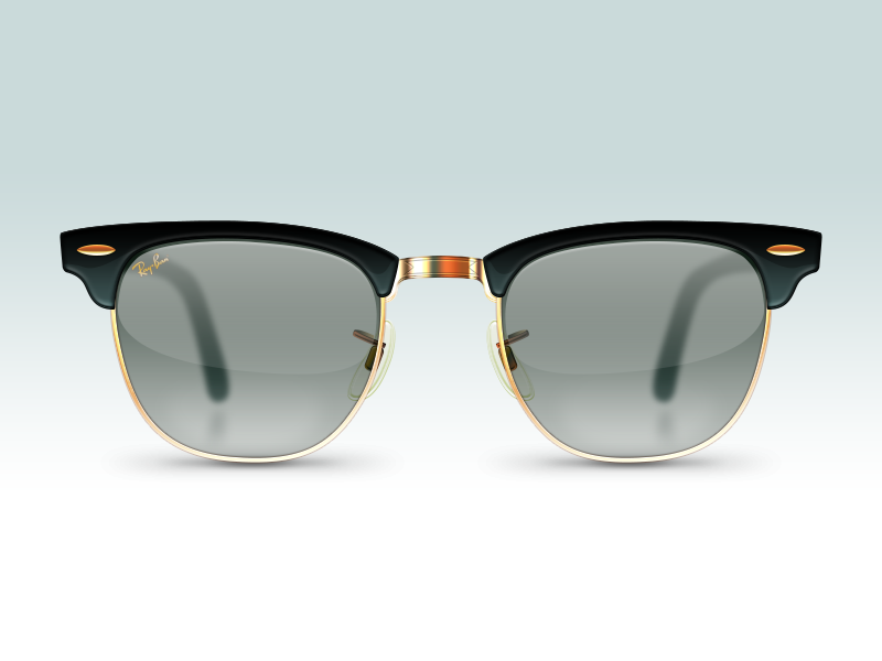 Ray Ban Clubmasters sunglasses glasses ray-ban ray ban trim metal glass reflection black plastic brass