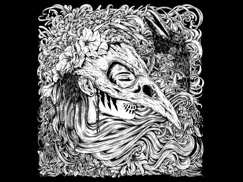The Crown nature crown crow skull heavymetal design darkart artwork illustrator illustration drawing black and white